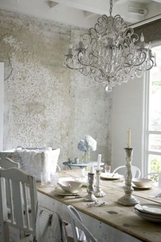 rough wall, chandelier, white