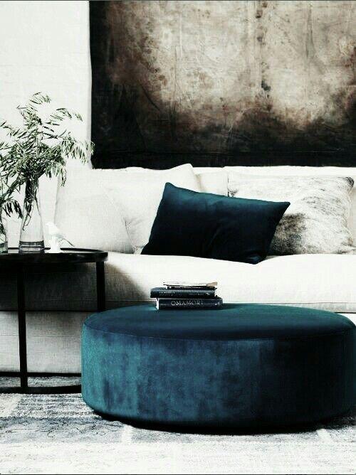 Dark Blue Velvet Ottoman