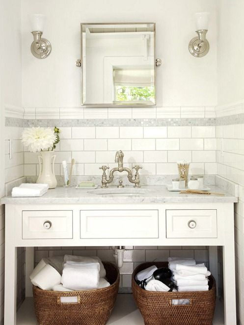 Subway Tile with Chair Rail Border