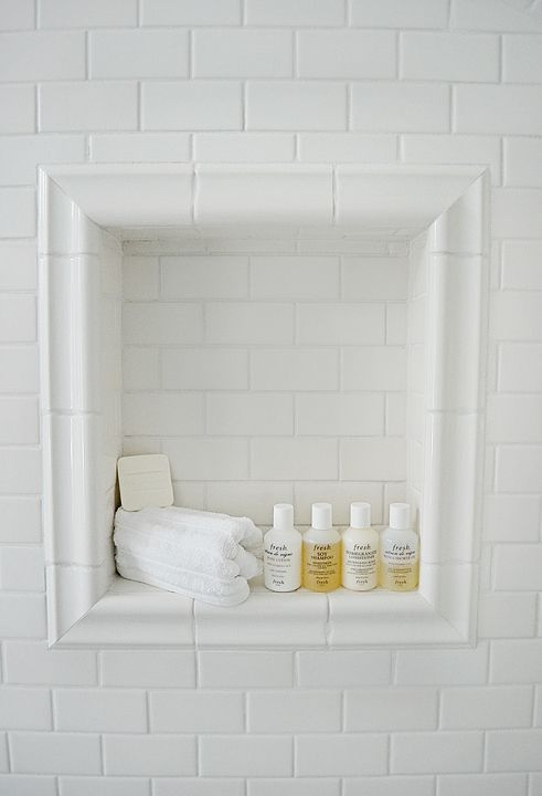 White Bathroom Tile. Subway Tile Shower Niche Bathrooms  This Peaceful Home