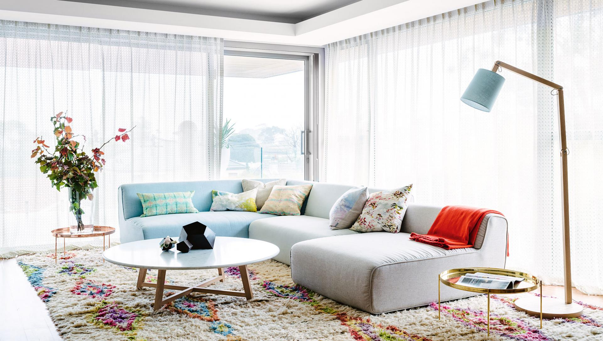 Bright modern style in perth this peaceful home for Fun living room furniture