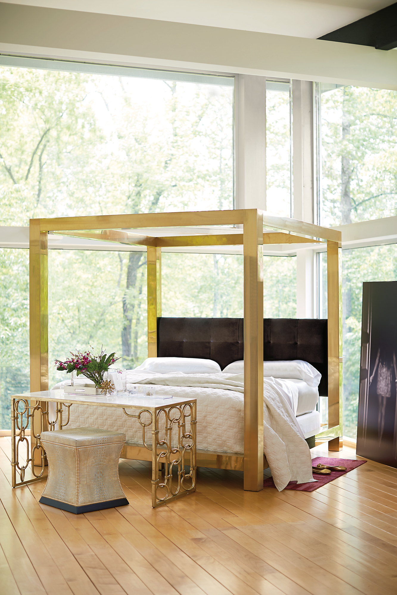 Beautiful bedroom inspiration this peaceful home for Gold bed canopy